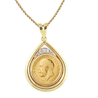 American Coin Treasures 14k Gold King George V Gold Sovereign Coin and Diamonds Teardrop Pendant (SI1, H)