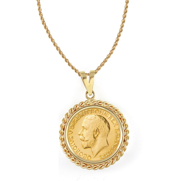 American Coin Treasures 14k Gold French King George V Gold Sovereign Coin Rope Bezel Pendant Necklace