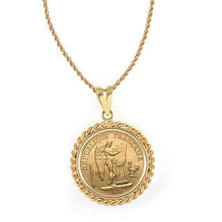 American Coin Treasures 14k Gold French 20 Franc Lucky Angel Gold Piece Coin Rope Bezel Pendant Necklace