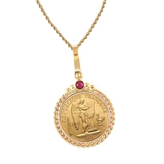 American Coin Treasures 14k Gold Ruby French 20 Franc Lucky Angel Twisted Rope Bezel Gold Coin Pendant Necklace