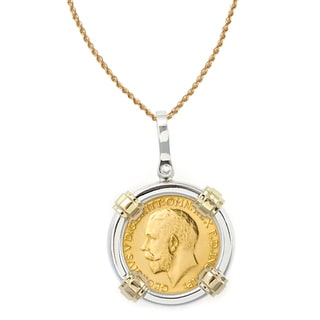 American Coin Treasures 14k Gold Sterling Silver King George V Gold Sovereign Coin Bezel Pendant Necklace