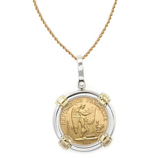 American Coin Treasures 14k Gold Sterling Silver French 20 Franc Lucky Angel Gold Piece Coin Bezel Pendant Necklace