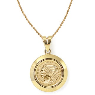 American Coin Treasures 14k Gold $5 Indian Head Gold Piece Half Eagle Coin Dome Bezel Pendant Necklace