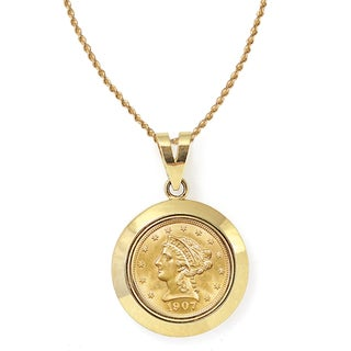 American Coin Treasures 14k Gold $2.50 Liberty Gold Piece Quarter Eagle Coin Dome Bezel Pendant Necklace