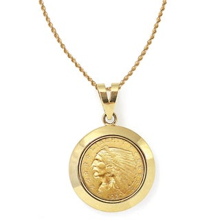 America Coin Treasures 14k Gold $2.50 Indian Head Gold Piece Quarter Eagle Coin Dome Bezel Pendant Necklace