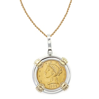 American Coin Treasures 14k Gold Sterling Silver $5 Liberty Gold Piece Half Eagle Coin Bezel Pendant Necklace