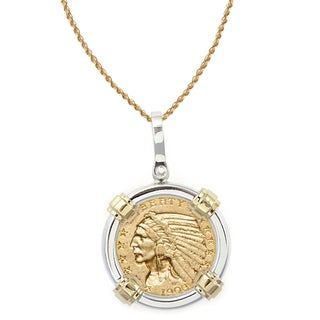 American Coin Treasures 14k Gold Sterling Silver $5 Indian Head Gold Piece Half Eagle Coin Bezel Pendant Necklace