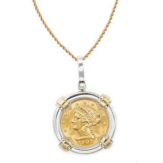 American Coin Treasures 14k Gold Sterling Silver $2.50 Liberty Gold Piece Quarter Eagle Coin Bezel Pendant Necklace