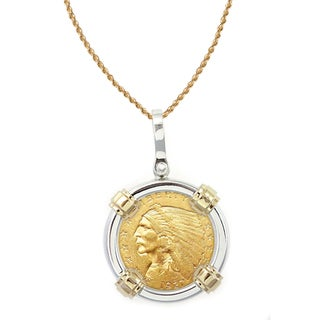 American Coin Treasures 14k Gold Sterling Silver $2.50 Indian Head Gold Piece Quarter Eagle Coin Bezel Pendant Necklace