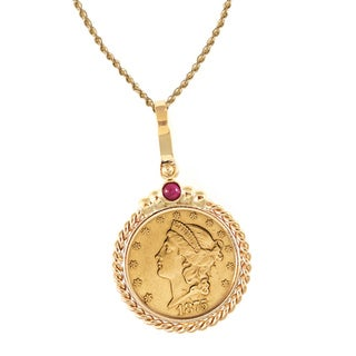 American Coin Treasures 14k Gold Ruby $20 Liberty Gold Piece Double Eagle Coin Twisted Rope Bezel Pendant