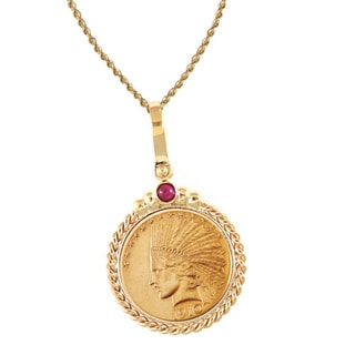 American Coin Treasures 14k Gold Ruby $10 Indian Head Gold Piece Eagle Coin Twisted Rope Bezel Pendant