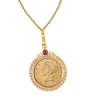 American Coin Treasures 14k Gold Ruby $5 Liberty Gold Piece Half Eagle Coin Twisted Rope Bezel Pendant