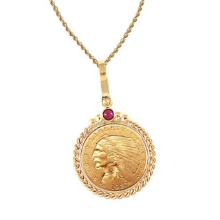 American Coin Treasures 14k Gold Ruby $2.50 Indian Head Gold Piece Quarter Eagle Coin Twisted Rope Bezel Pendant