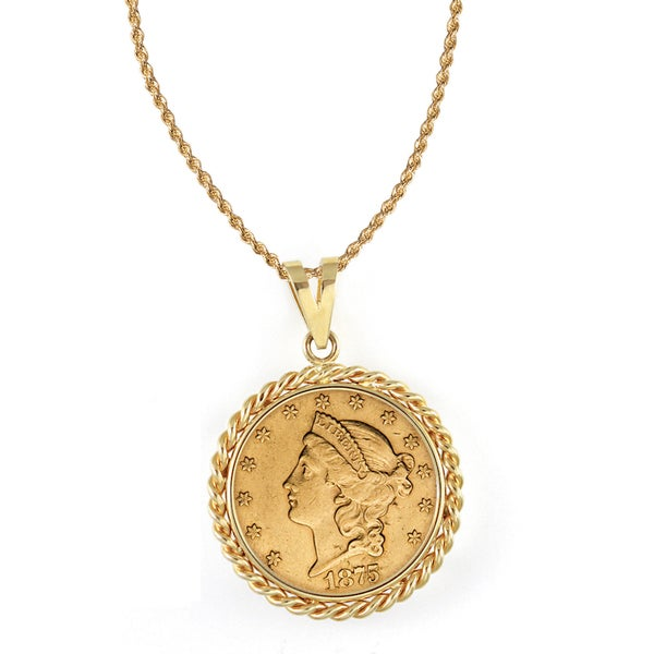 American Coin Treasures 14k Gold $20 Liberty Gold Piece Double Eagle Coin Rope Bezel Pendant Necklace