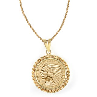 American Coin Treasures 14k Gold $5 Indian Head Gold Piece Half Eagle Coin Rope Bezel Pendant Necklace