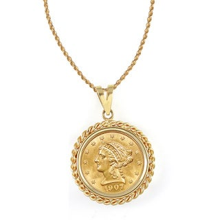 American Coin Treasures 14k Gold $2.50 Liberty Gold Piece Quarter Eagle Coin Rope Bezel Pendant Necklace