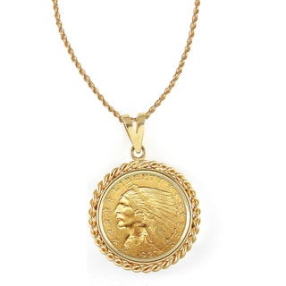 American Coin Treasures 14k Gold $2.50 Indian Head Gold Piece Quarter Eagle Coin Rope Bezel Pendant Necklace