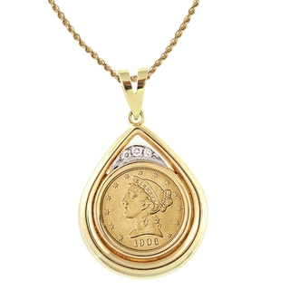 American Coin Treasures 14k Gold 1/8ct TDW Diamond and $5 Liberty Gold Piece Necklace (H-I, SI1-SI2)