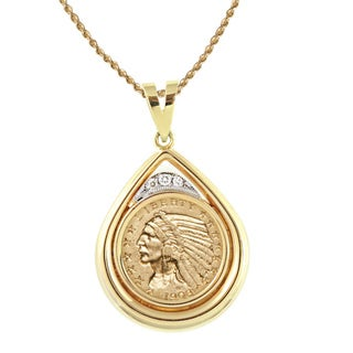 American Coin Treasures 14k Gold 0.13ctw TDW White Diamond $5 Indian Head Gold Piece Half Eagle Coin Teardrop Pendant