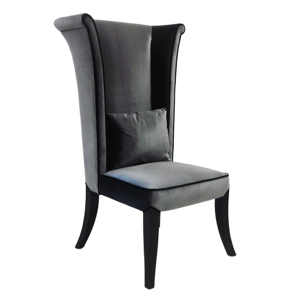 Grey Velvet High-back Chair