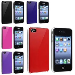 BasAcc Hot Pink/ Purple/ Blue/ Red/ Black Case for Apple iPhone 4/ 4S (Pack of 5)