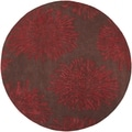 Hand-tufted Sealy Burgundy Wool Floral Rug (8' x 8')