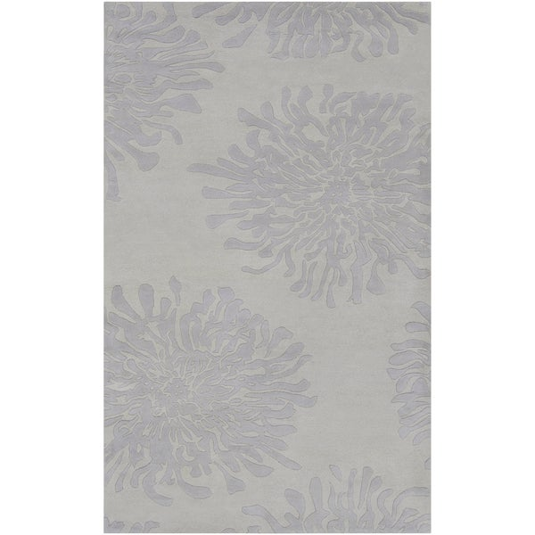 Hand-tufted Seal Grey Floral Wool Rug (2' x 3')