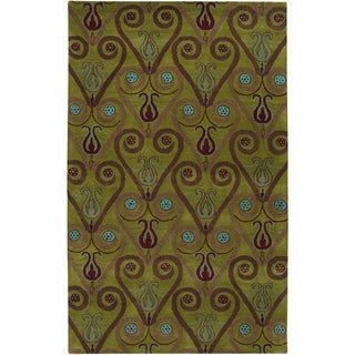 Hand-tufted Sebastian Green Wool Rug (2' x 3')