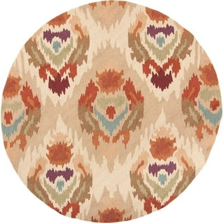 Hand-hooked Snook Gold Polyester Rug (4' Round)