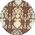 Hand-hooked South Brown Rug (3' Round)