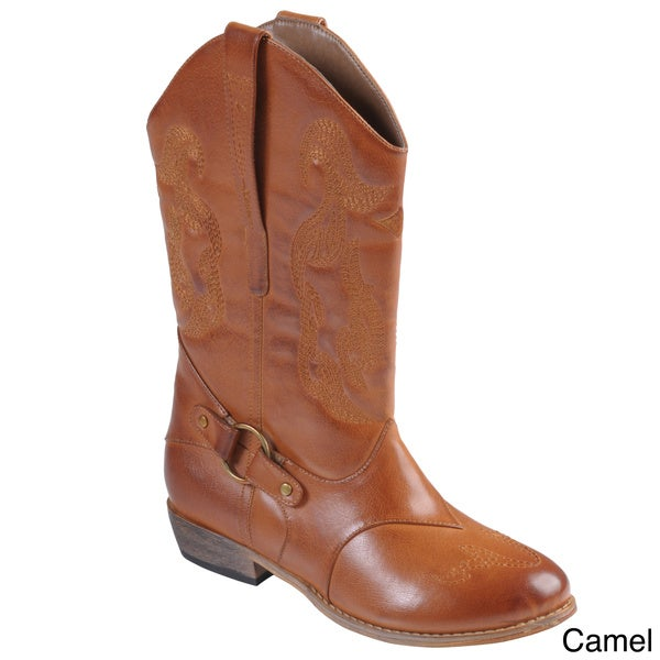 Tressa Collection Women's 'Beverly' Topstitched Pull-on Cowboy Boots
