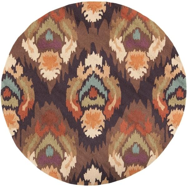Hand-hooked Spade Brown Rug (4' Round)