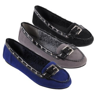 Journee Collection Women's 'City' Buckle Detail Studded Ballet Flats