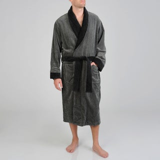 Izod Men's Black Houndstooth Terry Velour Robe