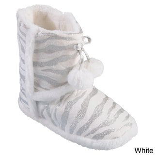 Journee Collection Kid's 'Mimi Zebra' Zebra Pattern Pom Pom Slipper Boots