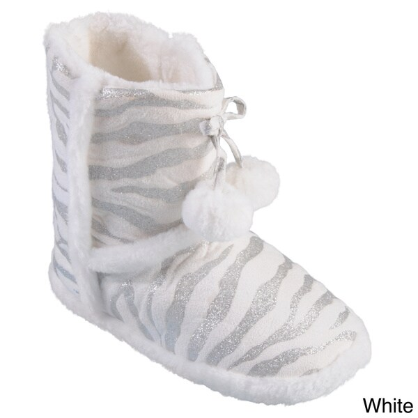 Journee Collection Kid's 'Mimi Zebra' Zebra Pattern Pom Pom Slipper Boots