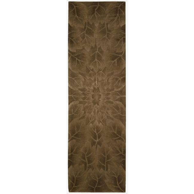 Nourison Hand-tufted Moda Brown Leaf Pattern Rug (2'3 x 8')