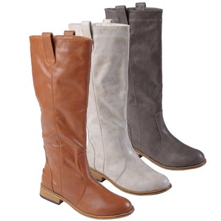 Journee Collection Women's 'Sara' Round Toe Topstitched Tall Boots