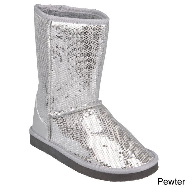 Journee Collection Kid's 'Ugena-star' Fleece Lined Sequined Boots