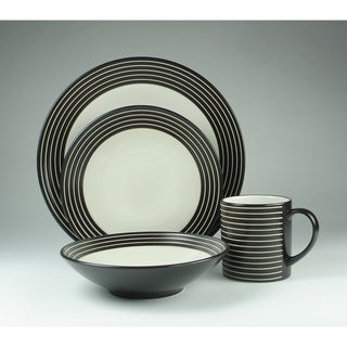 Denby 'Intro' Black Stripes 16-piece Stoneware Dinnerware Set
