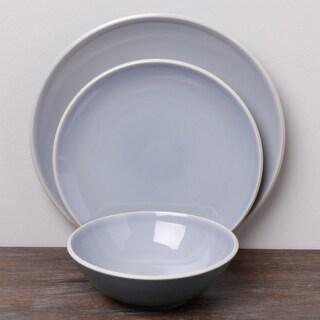 Denby 'Intro Edge' Blue 12-piece Stoneware Dinnerware Set