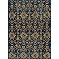 Ikat Chic Navy Wool Rug (5'3 x 7'9)