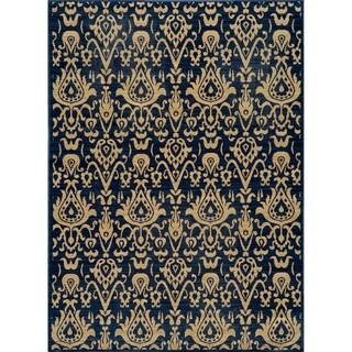 Ikat Chic Navy Wool Rug (5'3 x 7'9)