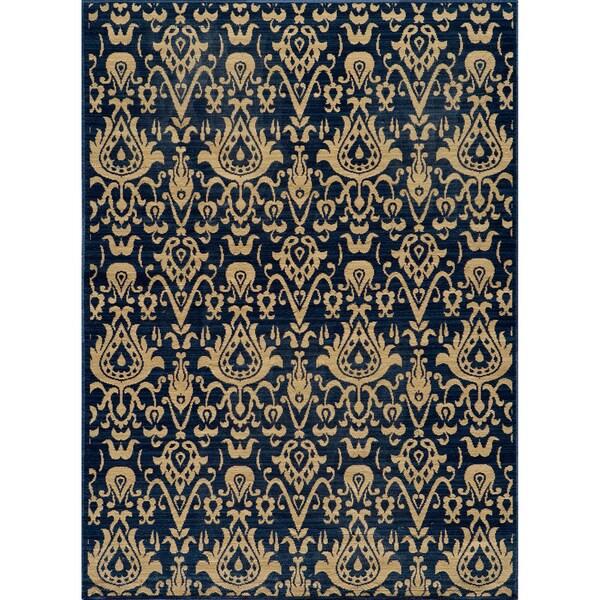 Vintage Ikat Chic Navy New Zealand Wool Rug (5'3 x 7'9)