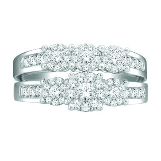 De Couer 10k White Gold 1ct TDW Diamond Bridal Ring Set (H-I, I2)