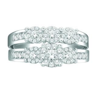 De Couer 10k White Gold 1ct TDW Diamond Bridal Ring Set (H-I, I2)