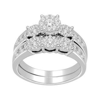 De Couer 10k White Gold 1ct TDW Diamond Bridal Ring Set (H-I, I2) with Bonus Necklace