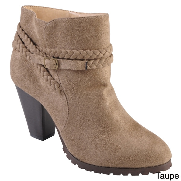 Tressa Collection Women's 'Orange' Braid Detail High Heel Booties