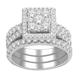De Couer 10k Gold 2ct TDW Diamond Halo Bridal Ring Set (H-I, I2) with Bonus Necklace
