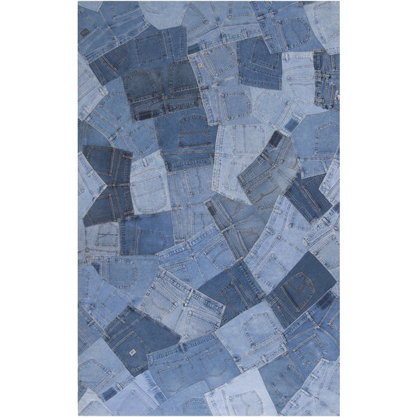 Woven Baham Denim Blue Wool Rug (5' x 8')